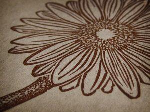 Gerbera Daisy Linocut Detail